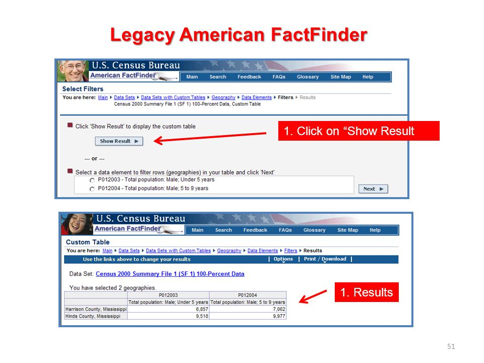 51 Legacy American FactFinder 1. Click on Show Result 1. Results