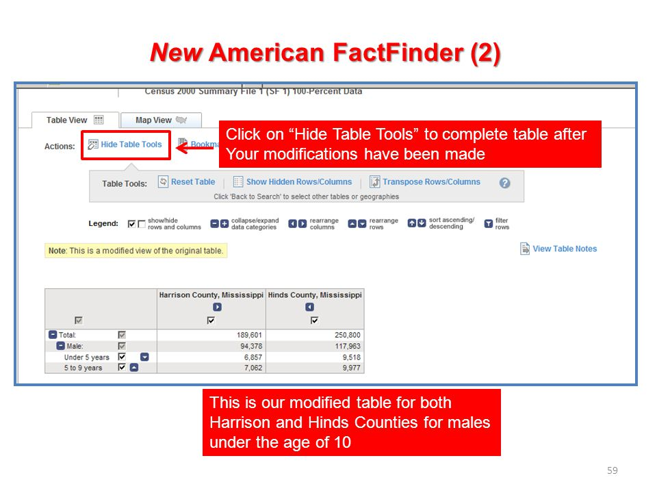 59 New American FactFinder (2) This is our modified table for both Harrison and Hinds Counties for males under the age of 10 Click on Hide Table Tools