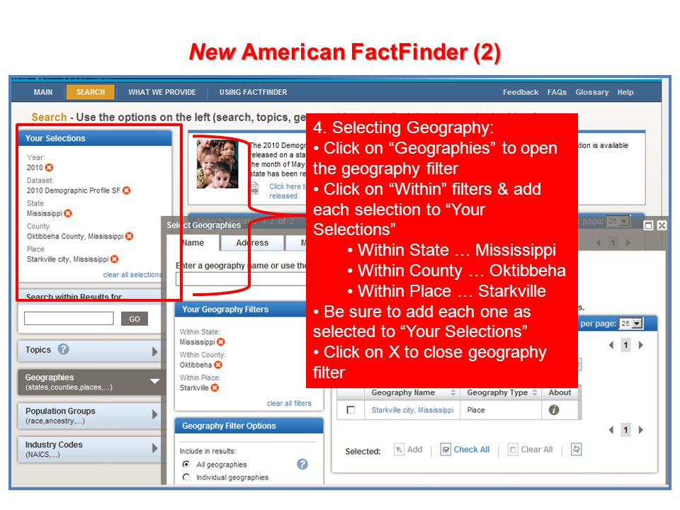 65 New American FactFinder (2) 4.