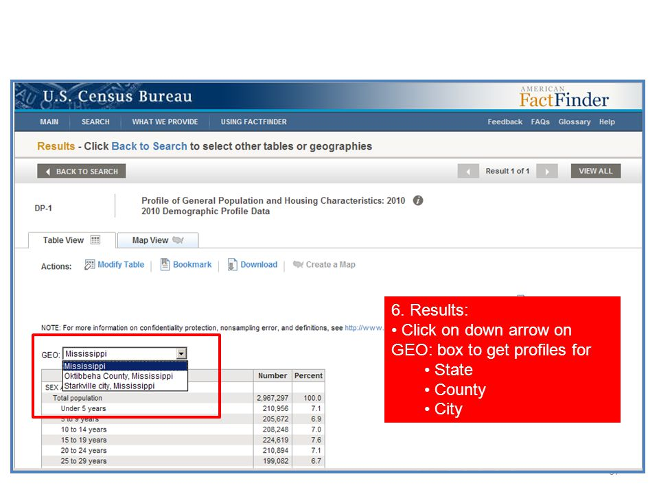 67 6. Results: Click on down arrow on GEO: box to get profiles for State County City