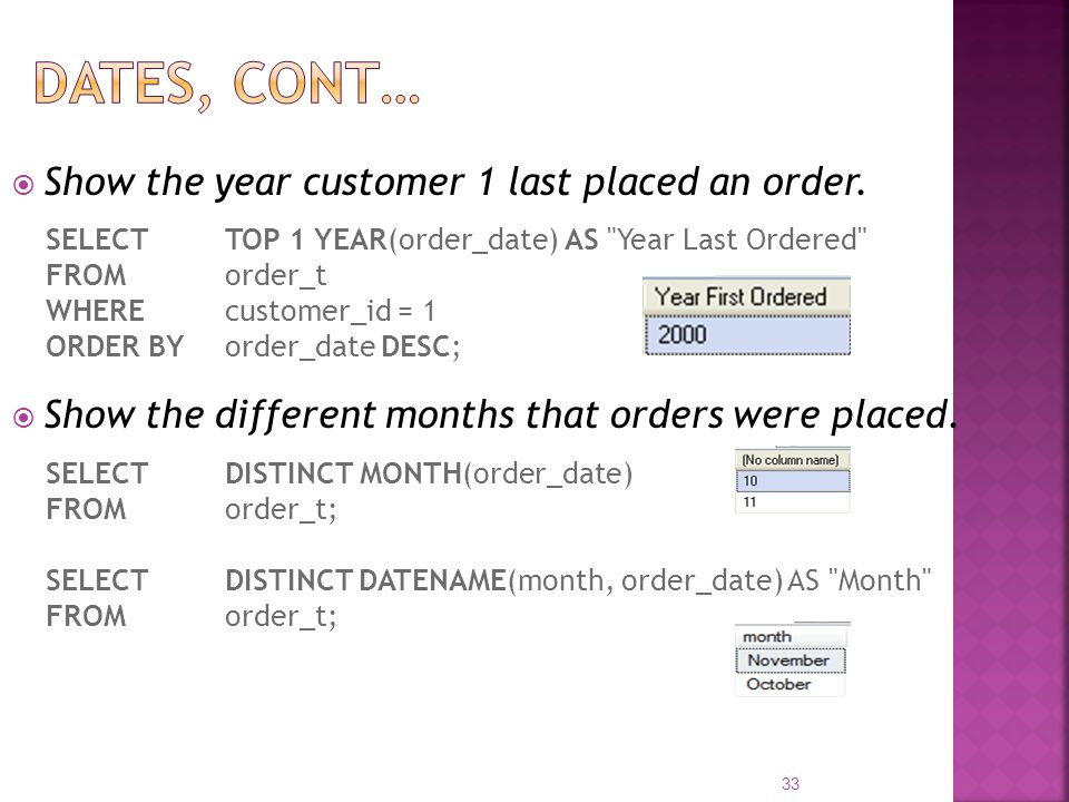 Show the year customer 1 last placed an order. SELECT TOP 1 YEAR(order_date) AS