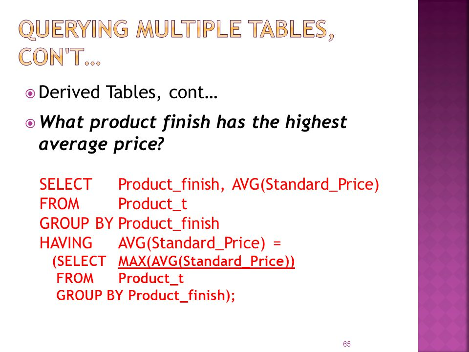 Derived Tables, cont… What product finish has the highest average price? SELECT Product_finish, AVG(Standard_Price) FROM Product_t GROUP BY Product_fi
