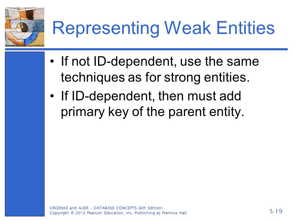 Representing Weak Entities If not ID-dependent, use the same techniques as for strong entities. If ID-dependent, then must add primary key of the pare