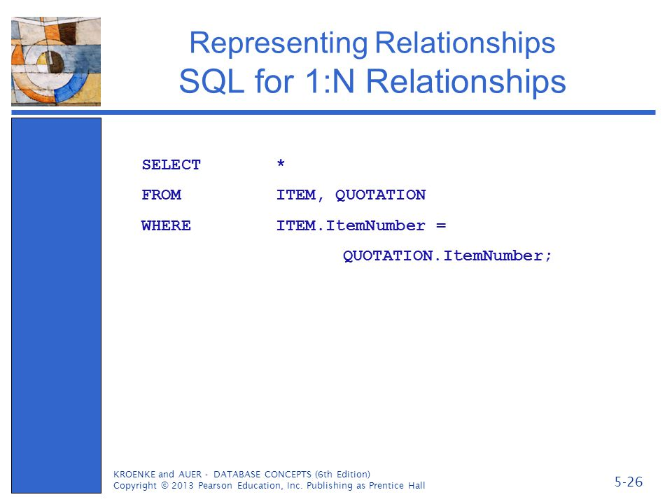 Representing Relationships SQL for 1:N Relationships KROENKE and AUER - DATABASE CONCEPTS (6th Edition) Copyright © 2013 Pearson Education, Inc. Publi