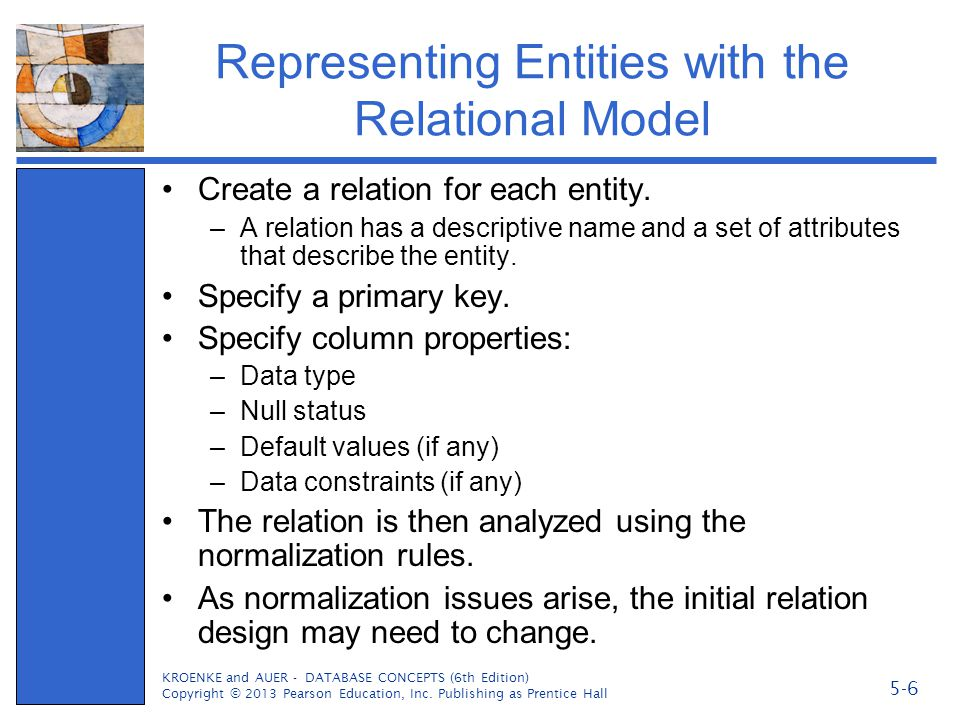 Representing Entities with the Relational Model Create a relation for each entity. –A relation has a descriptive name and a set of attributes that des