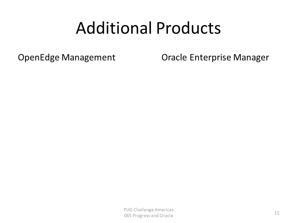 Additional Products PUG Challenge Americas 065 Progress and Oracle 11 OpenEdge ManagementOracle Enterprise Manager