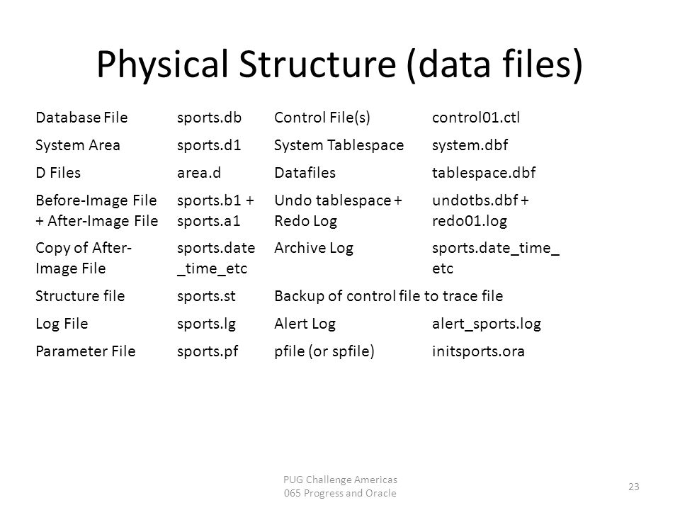 Physical Structure (data files) PUG Challenge Americas 065 Progress and Oracle 23 Database Filesports.dbControl File(s)control01.ctl System Areasports