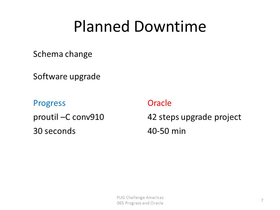 Planned Downtime PUG Challenge Americas 065 Progress and Oracle 7 Schema change Software upgrade Progress proutil –C conv910 30 seconds Oracle 42 step