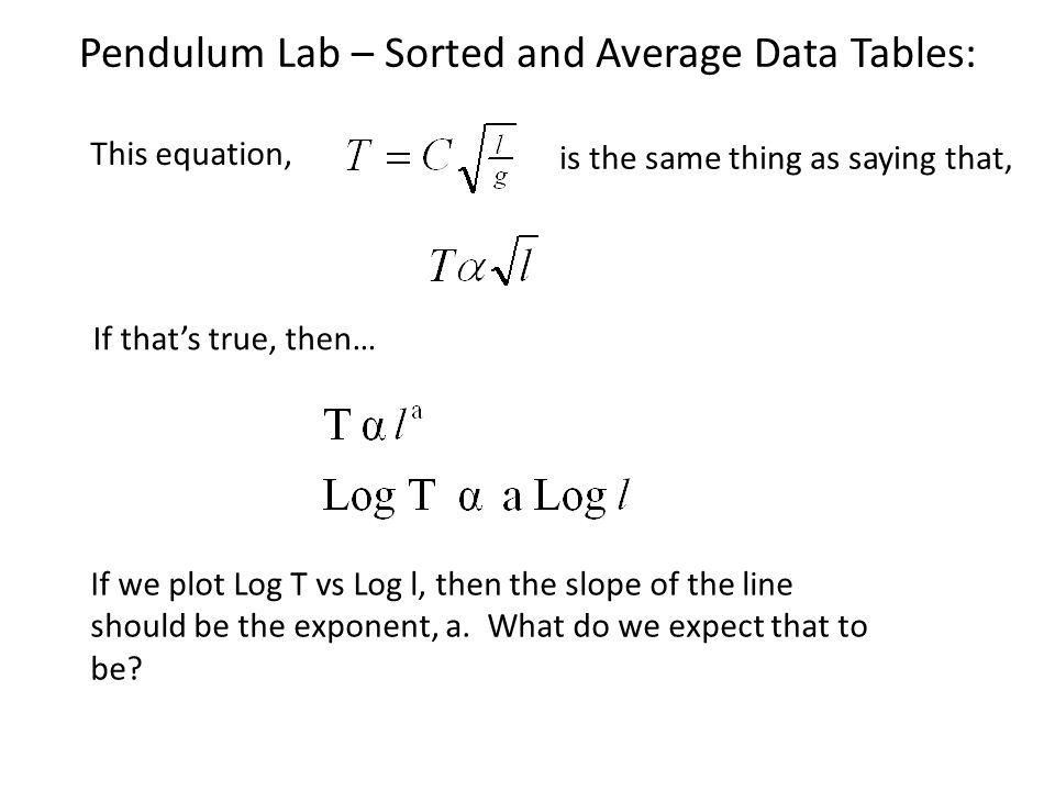 Pendulum Lab – Sorted and Average Data Tables: This equation, is the same thing as saying that, If thats true, then… If we plot Log T vs Log l, then t