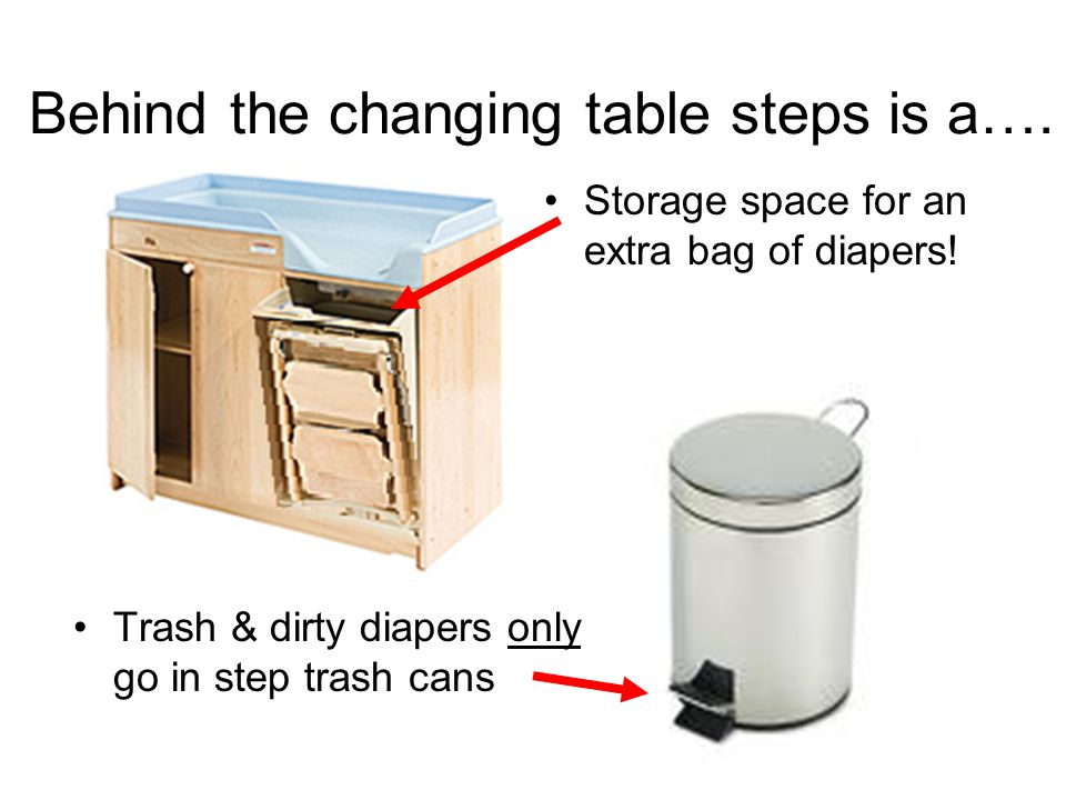 Behind the changing table steps is a…. Storage space for an extra bag of diapers.