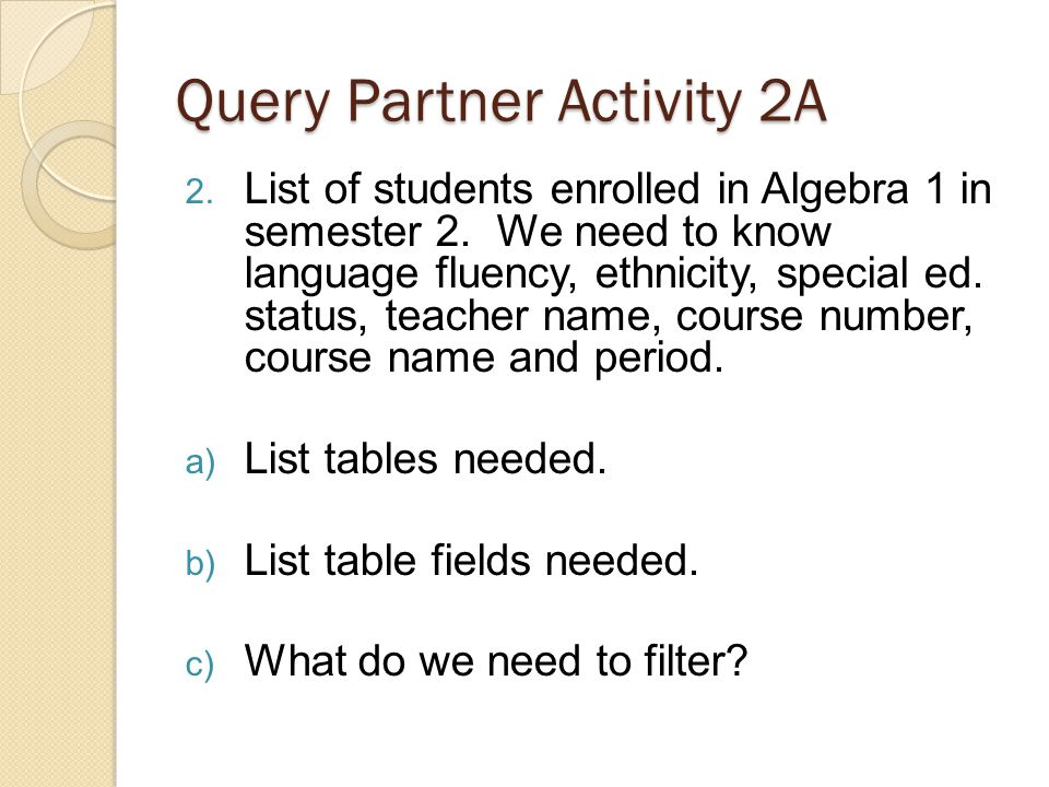 Query Partner Activity 2A 2. List of students enrolled in Algebra 1 in semester 2.