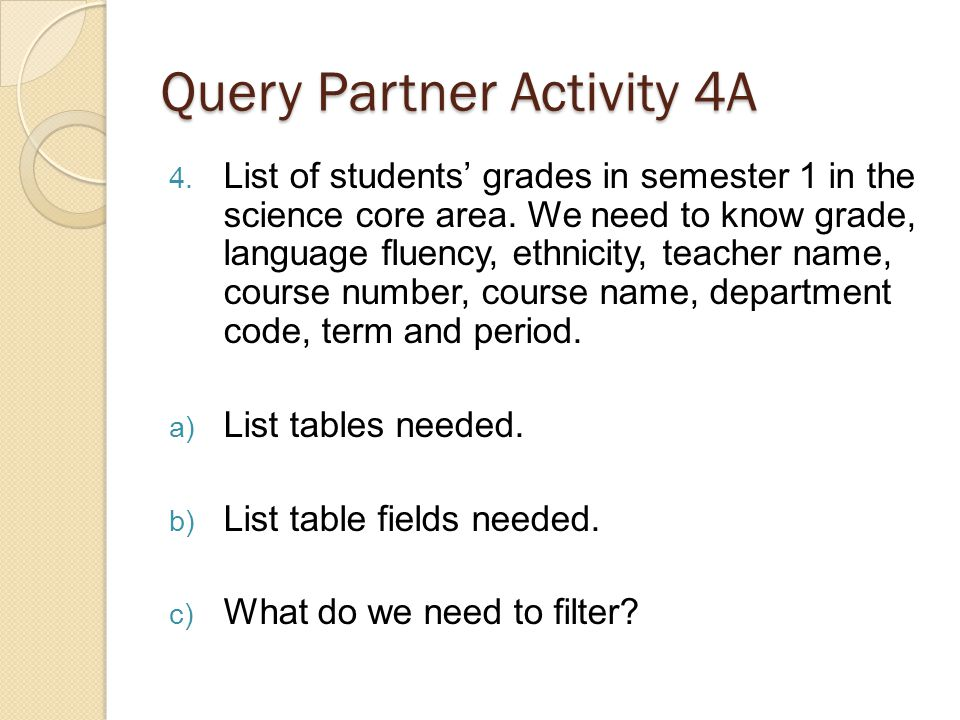 Query Partner Activity 4A 4. List of students grades in semester 1 in the science core area.