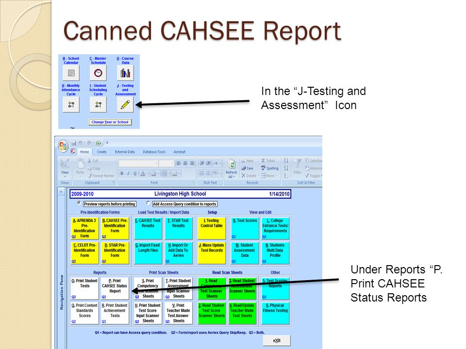 Canned CAHSEE Report In the J-Testing and Assessment Icon Under Reports P.