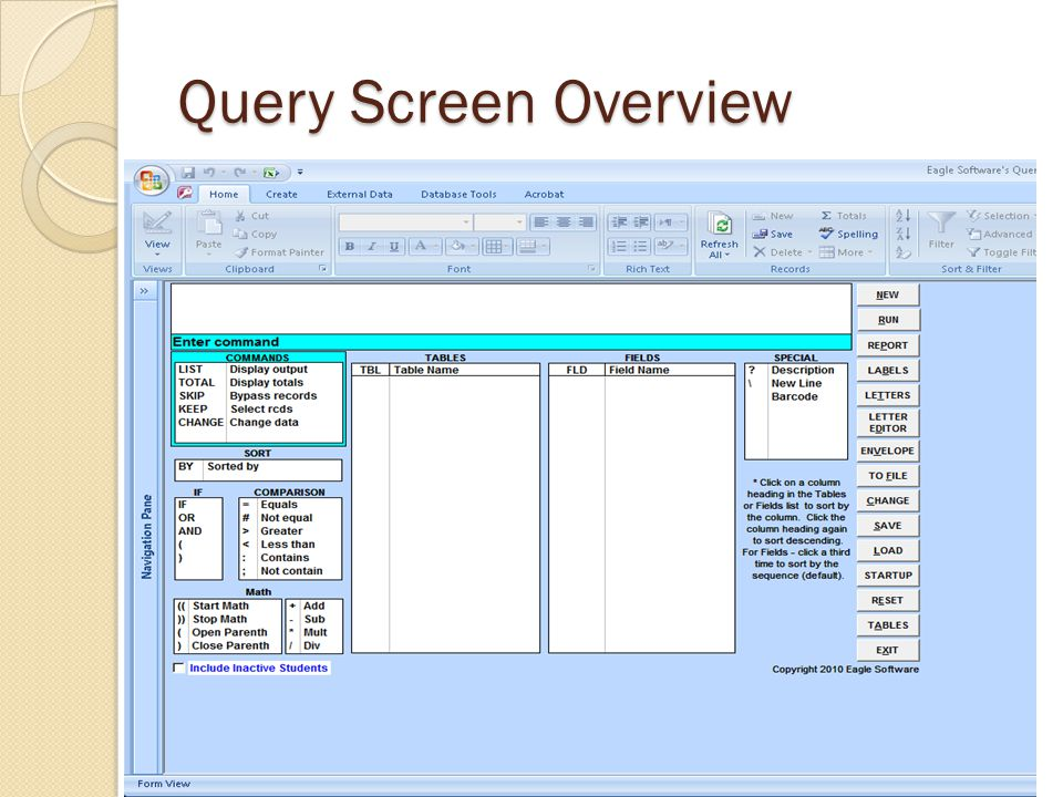 Query Screen Overview