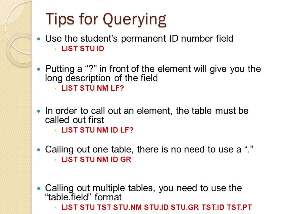 Canned CAHSEE Report (Cont) Close the report, the STU.QT screen will come up Query to run: LIST STU NM ID GR IF STU.QT #