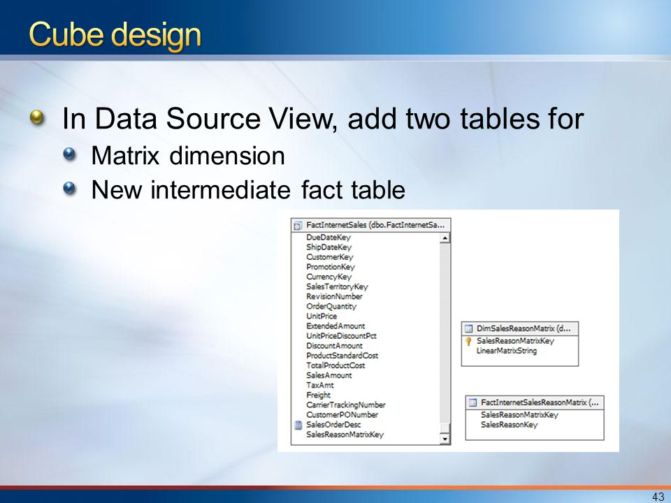 In Data Source View, add two tables for Matrix dimension New intermediate fact table 43