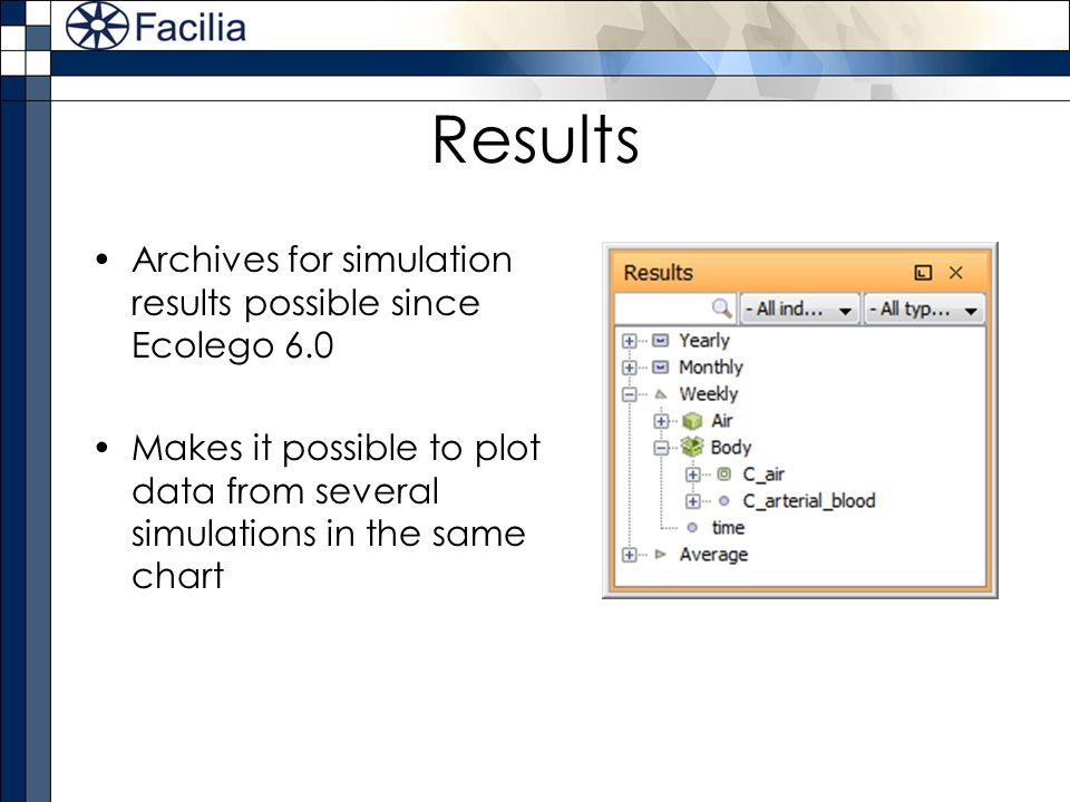Results Archives for simulation results possible since Ecolego 6.0 Makes it possible to plot data from several simulations in the same chart