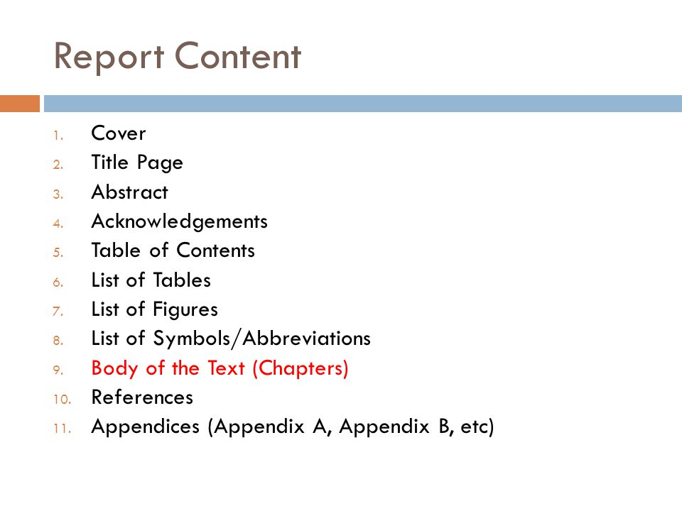 Body of Text(sample) Chapter 1 Introduction Chapter 2 Theoretical Background or Literature Review Chapter 3 Method and Implementation Chapter 4 Results and Discussion Chapter 5 Conclusions and Future Works Note, report content should be clear, concise, straight to the point, and not too much copy paste (plagiarism?) Copy-pasted text could be checked by anti plagiarism software.