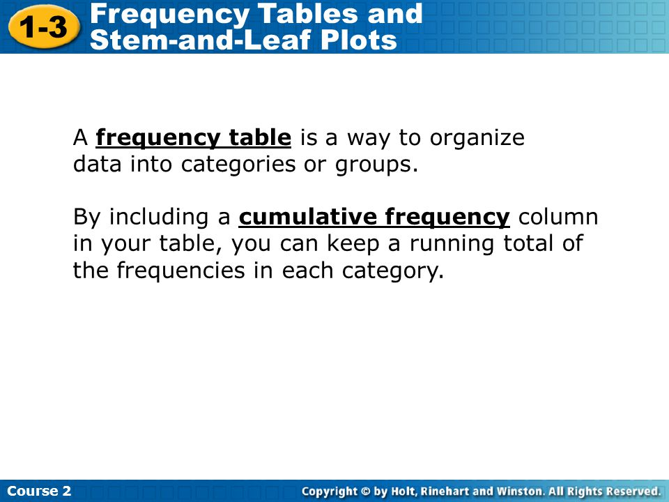 A frequency table is a way to organize data into categories or groups. By including a cumulative frequency column in your table, you can keep a runnin