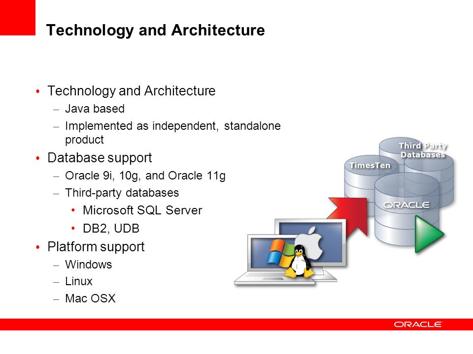 Technology and Architecture – Java based – Implemented as independent, standalone product Database support – Oracle 9i, 10g, and Oracle 11g – Third-pa