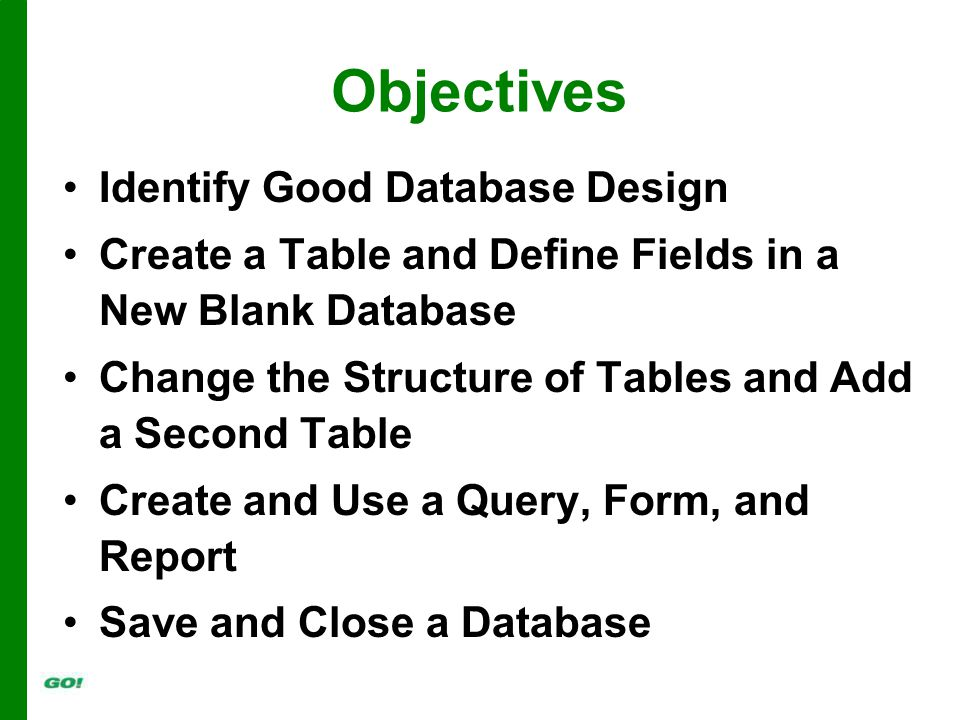 Objectives Identify Good Database Design Create a Table and Define Fields in a New Blank Database Change the Structure of Tables and Add a Second Table Create and Use a Query, Form, and Report Save and Close a Database