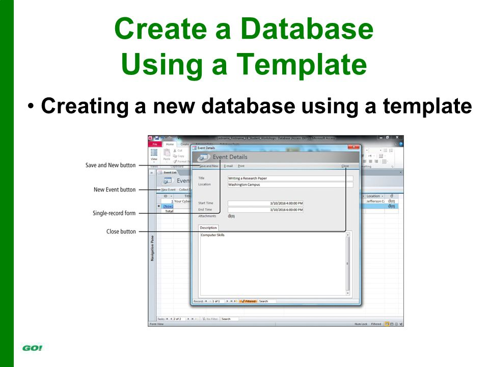 Create a Database Using a Template Creating a new database using a template