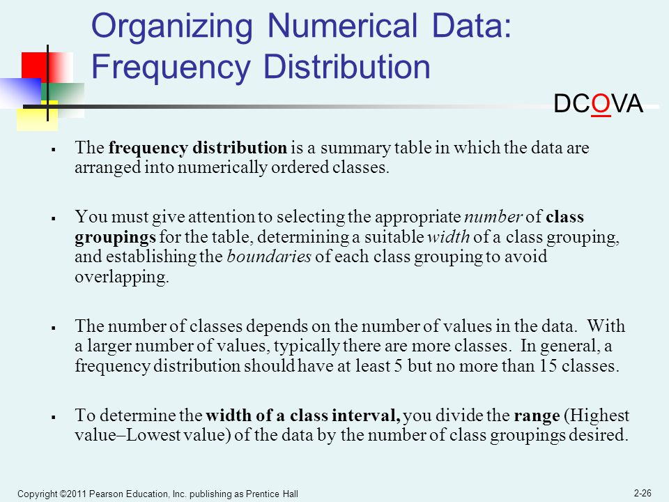 Copyright ©2011 Pearson Education, Inc. publishing as Prentice Hall 2-26 Organizing Numerical Data: Frequency Distribution The frequency distribution