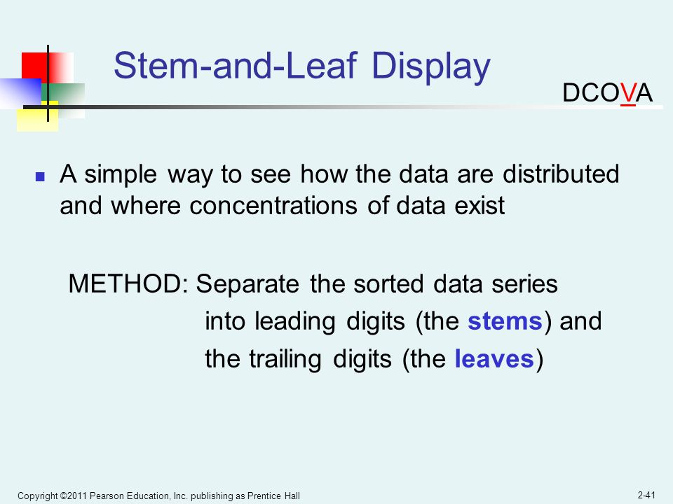 Copyright ©2011 Pearson Education, Inc. publishing as Prentice Hall 2-41 Stem-and-Leaf Display A simple way to see how the data are distributed and wh