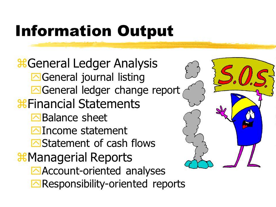 Information Output zGeneral Ledger Analysis yGeneral journal listing yGeneral ledger change report zFinancial Statements yBalance sheet yIncome statem
