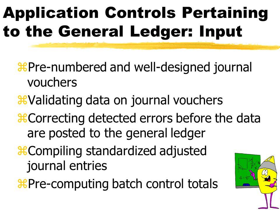 Programmed Checks for Editing & Validating Journal Entry Data zValidity check zField check zLimit check zZero-balance check zCompleteness check zEcho check