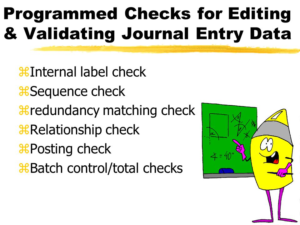 Application Controls Pertaining to the General Ledger: Processing zPosting journal entries to the general ledger accounts with a variety of program checks performed before and after posting zSumming the amounts posted to the general ledger accounts and then comparing the posted totals to the pre-computed batch control totals zEstablishing and maintaining an adequate audit trail