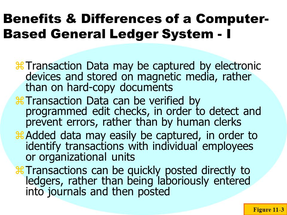 Benefits & Differences of a Computer- Based General Ledger System - I zTransaction Data may be captured by electronic devices and stored on magnetic m