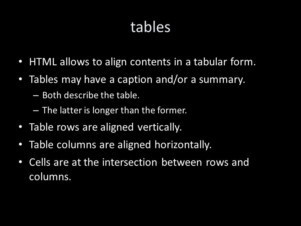 tables HTML allows to align contents in a tabular form.