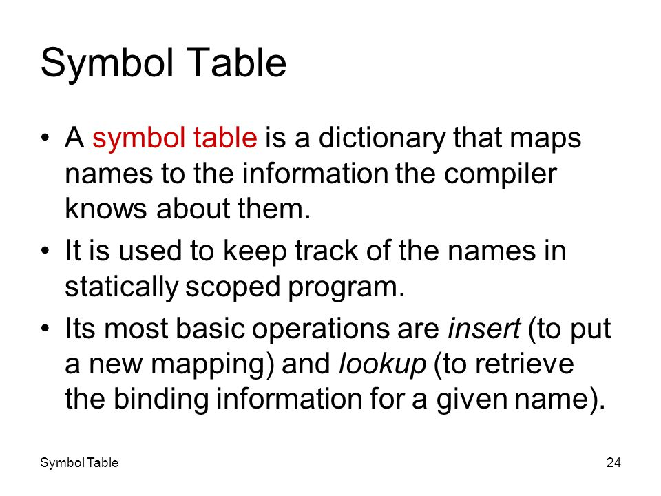 Symbol Table24 Symbol Table A symbol table is a dictionary that maps names to the information the compiler knows about them. It is used to keep track