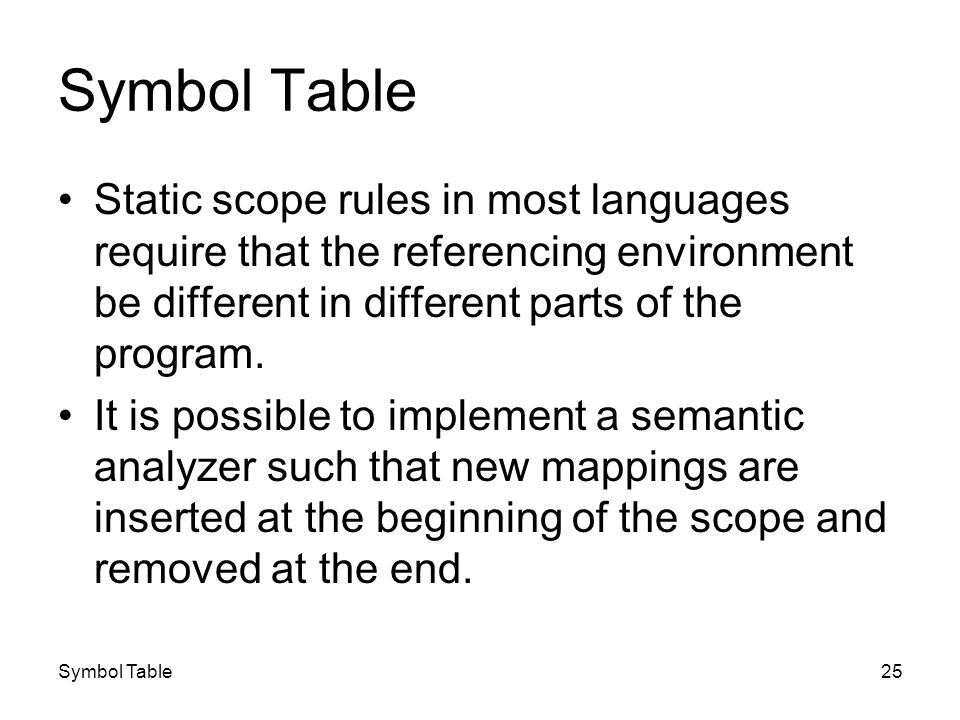 Symbol Table25 Symbol Table Static scope rules in most languages require that the referencing environment be different in different parts of the progr