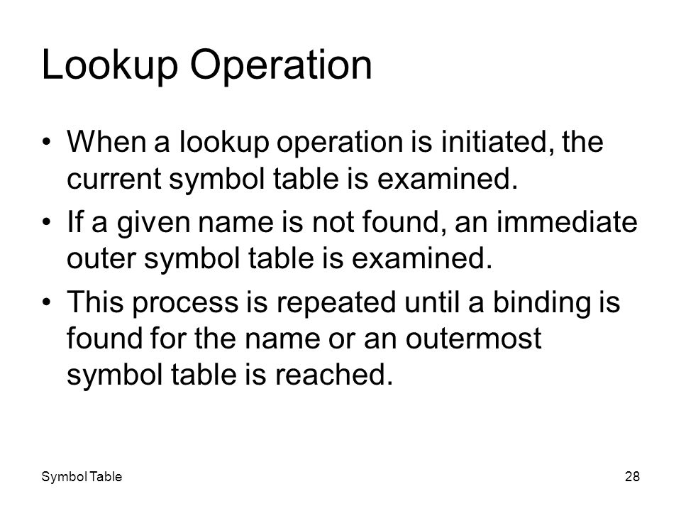 Symbol Table28 Lookup Operation When a lookup operation is initiated, the current symbol table is examined. If a given name is not found, an immediate