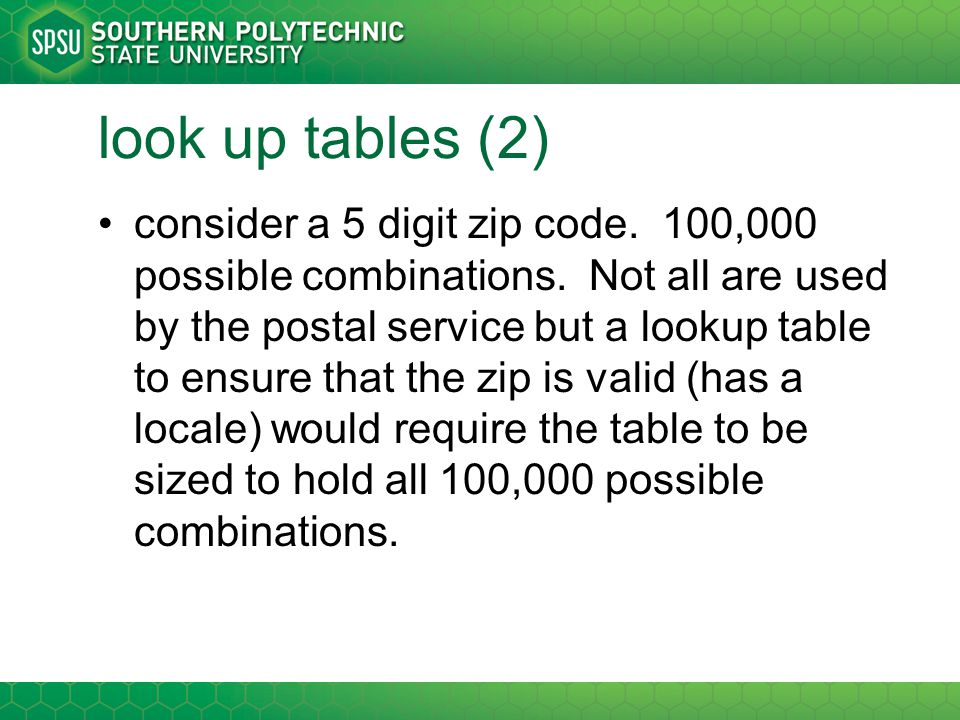 hashing hashing is a method of devising a lookup table that tries not to waste as much space.