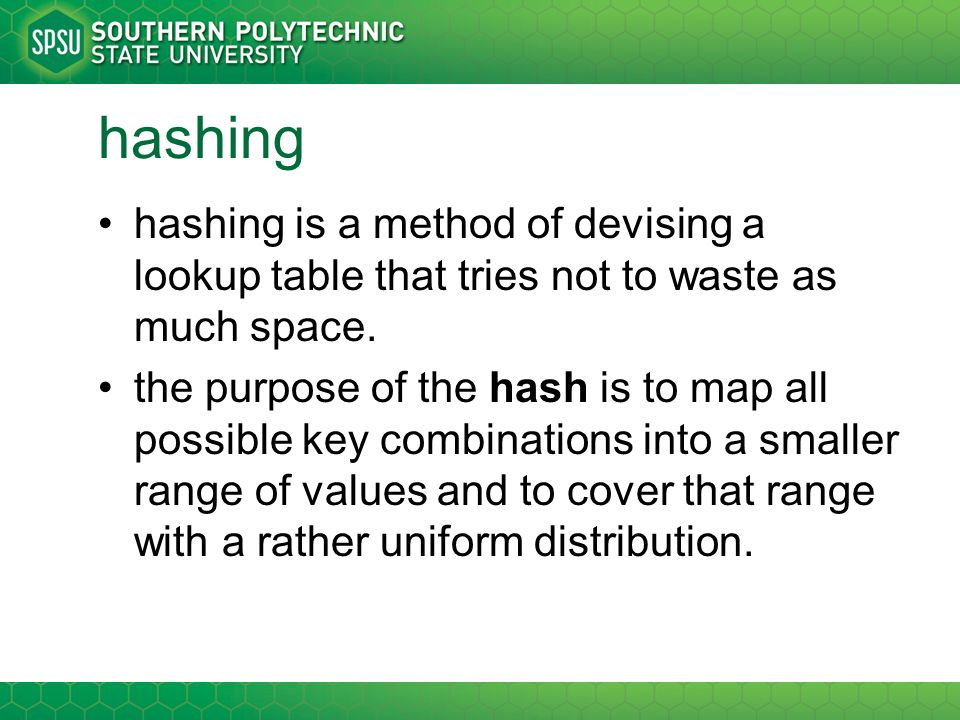 hashing (2) a hash table uses a hash function to convert the indices.