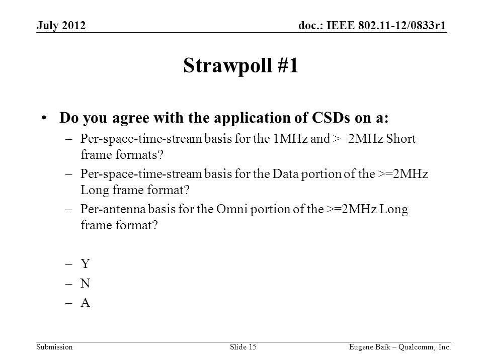 doc.: IEEE 802.11-12/0833r1 Submission Strawpoll #1 Do you agree with the application of CSDs on a: –Per-space-time-stream basis for the 1MHz and >=2MHz Short frame formats.