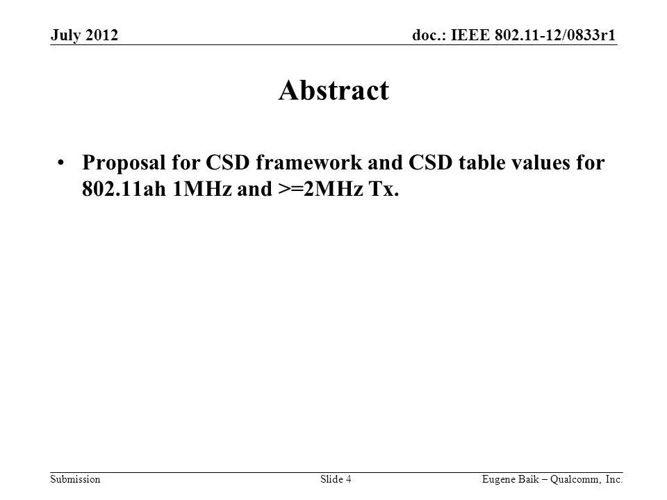 doc.: IEEE 802.11-12/0833r1 Submission Abstract Proposal for CSD framework and CSD table values for 802.11ah 1MHz and >=2MHz Tx.