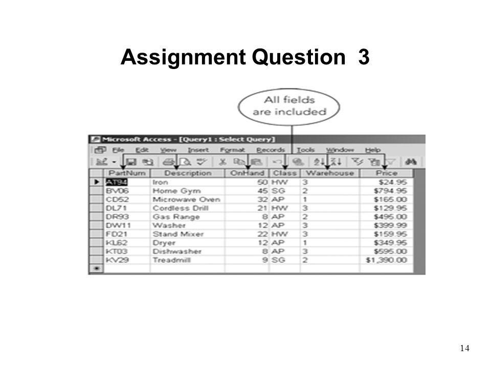 14 Assignment Question 3