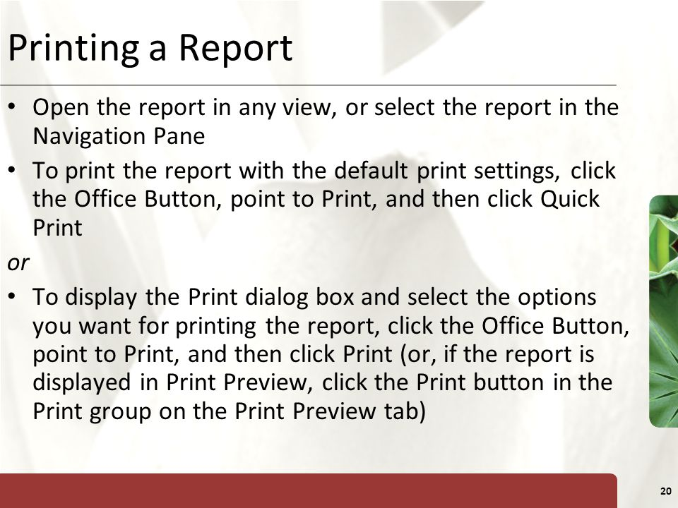 XP 20 Printing a Report Open the report in any view, or select the report in the Navigation Pane To print the report with the default print settings,