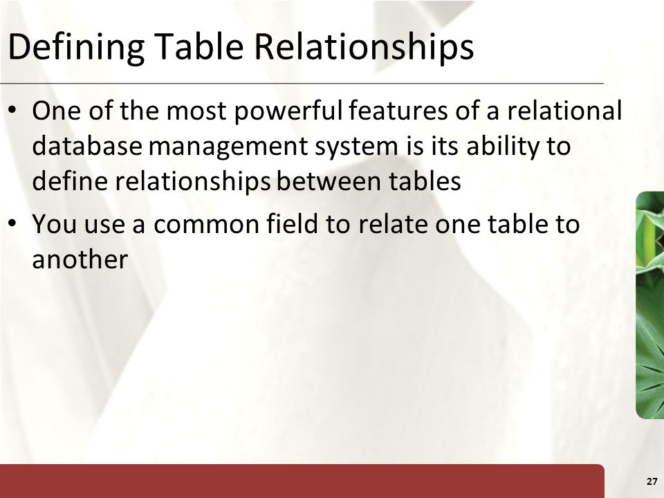 XP 27 Defining Table Relationships One of the most powerful features of a relational database management system is its ability to define relationships
