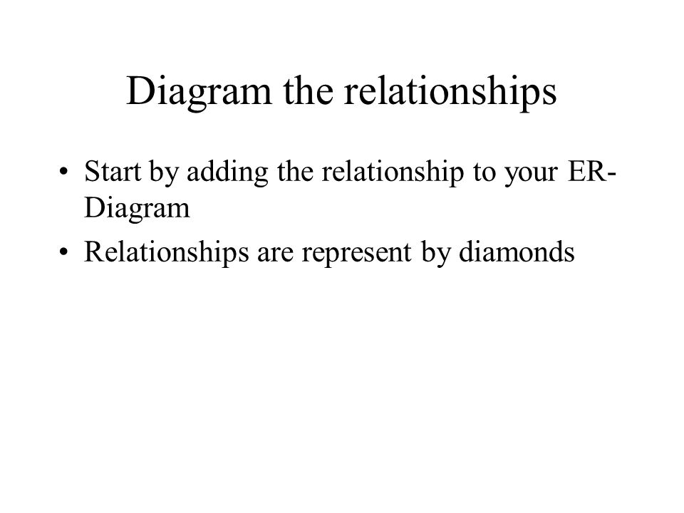 Diagram the relationships Start by adding the relationship to your ER- Diagram Relationships are represent by diamonds