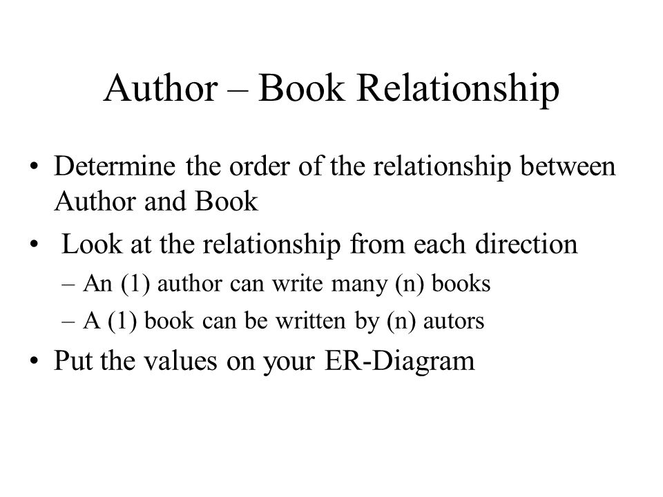 Author – Book Relationship Determine the order of the relationship between Author and Book Look at the relationship from each direction –An (1) author can write many (n) books –A (1) book can be written by (n) autors Put the values on your ER-Diagram
