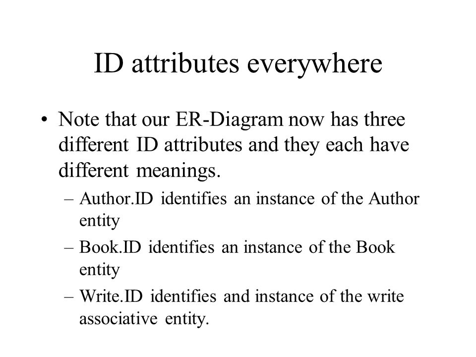 ID attributes everywhere Note that our ER-Diagram now has three different ID attributes and they each have different meanings.
