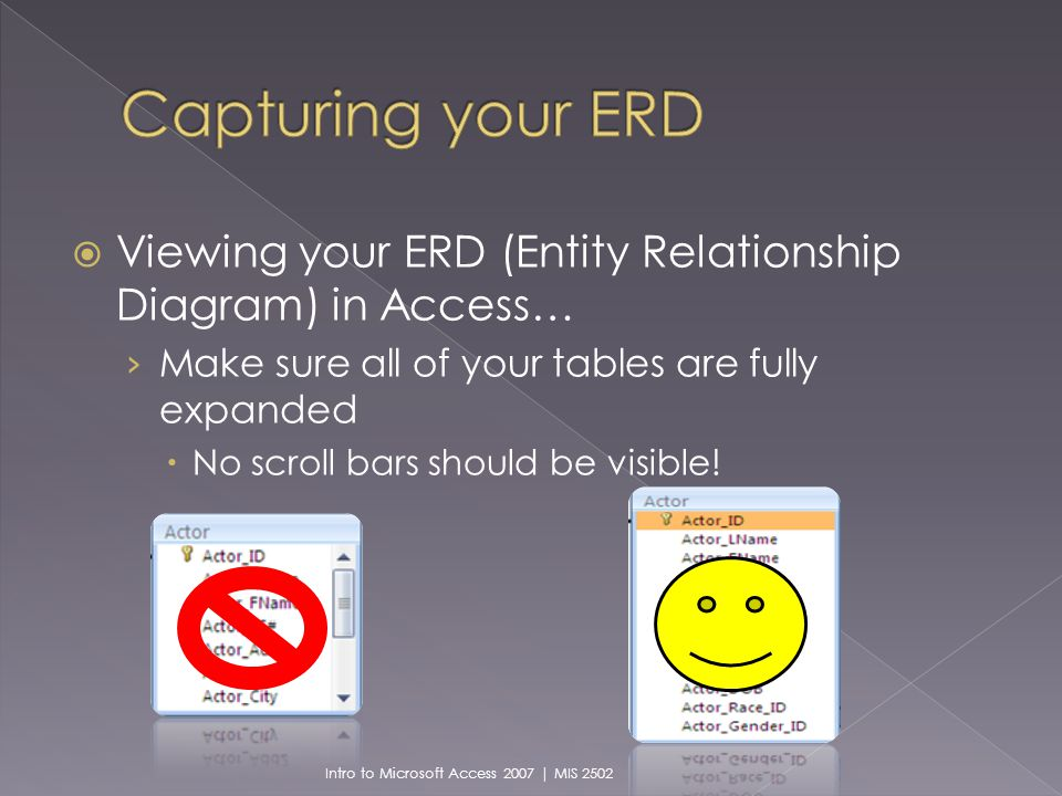 Viewing your ERD (Entity Relationship Diagram) in Access… Make sure all of your tables are fully expanded No scroll bars should be visible.