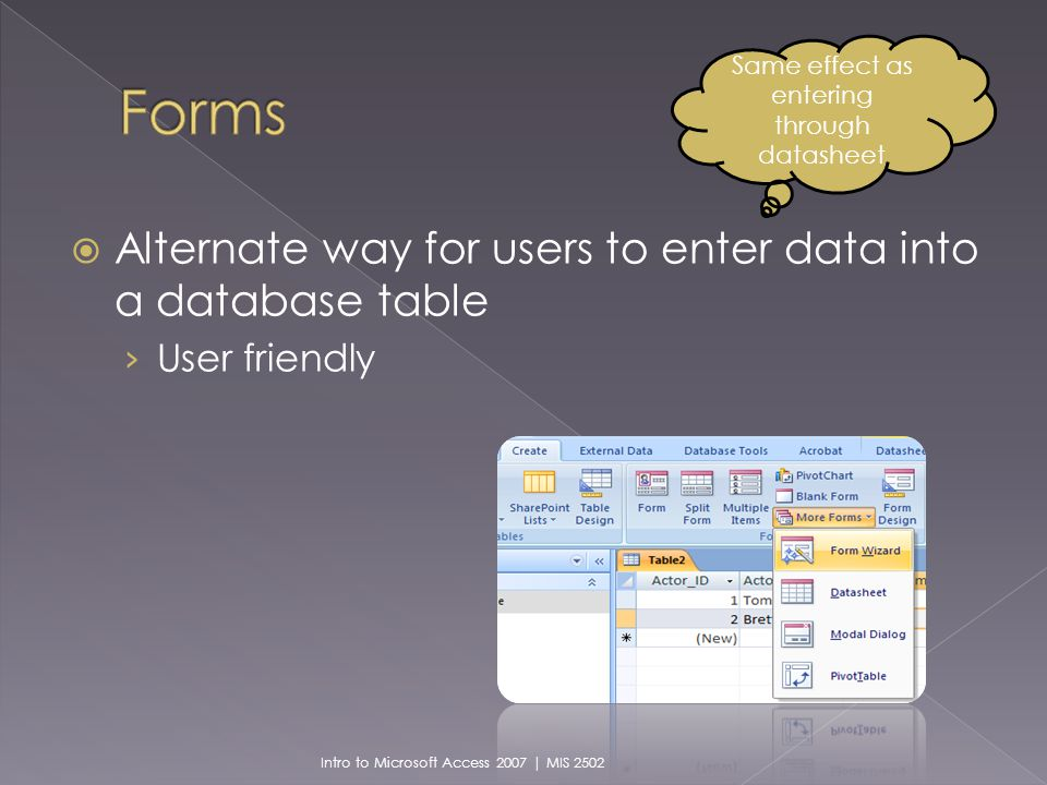 Alternate way for users to enter data into a database table User friendly Same effect as entering through datasheet Intro to Microsoft Access 2007 | MIS 2502