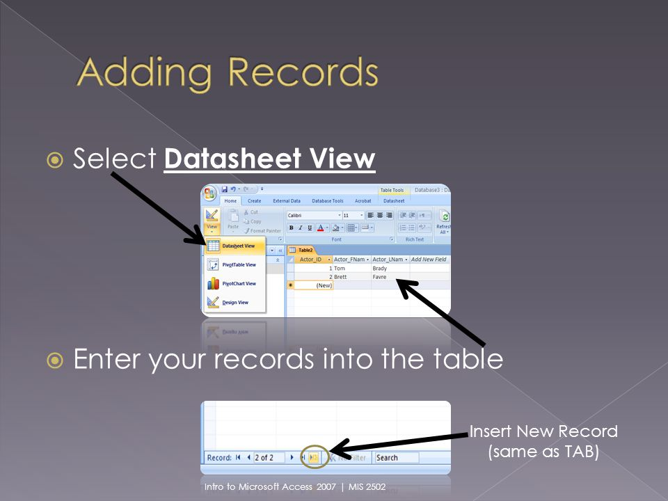 Select Datasheet View Enter your records into the table Insert New Record (same as TAB) Intro to Microsoft Access 2007 | MIS 2502