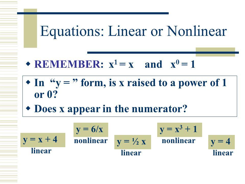 Identify:Linear or Nonlinear Equation? y = 2/x + 5y = x 2 + 8y =.6x 1 y = + 1 3x 2 linear nonlinear